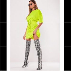 Misguided Neon Yellow Corseted T-Shirt Dress Sz 8